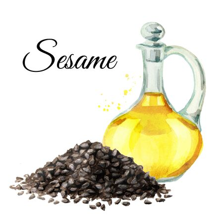 Sesame black seeds and bottle with oil.