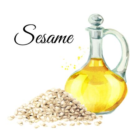 Sesame seeds and bottle with oil isolated on white