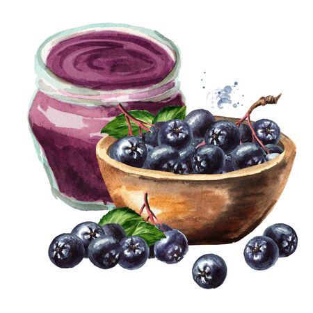 Domowy konfitura z aronii i miska z jagodami aronii lub aronii.