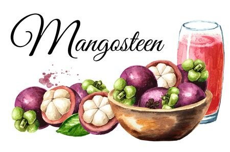 Bowl with fresh Mangosteen fruits and Glass of mangosteen juice card, Watercolor hand drawn illustration isolated on white background