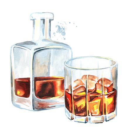Bottiglia e bicchiere pieni di whisky o brandy o cognac per metà bevanda alcolica. Archivio Fotografico