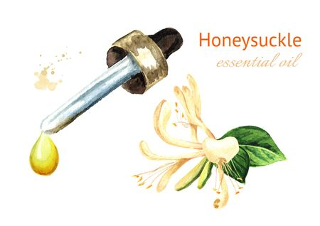 Honeysuckle flower essential oil drop. Watercolor hand drawn illustration, isolated on white background