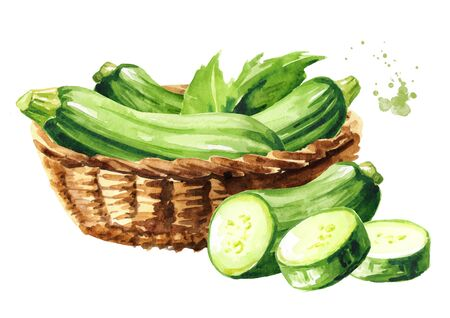 Basket with green zucchini vegetable Stock fotó