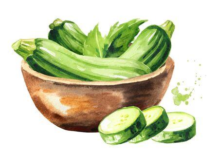 Bowl with fresh zucchini vegetables Stock fotó