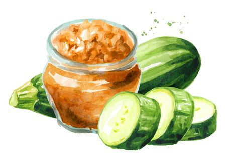 Squash, caviar or paste and zucchini vegetables on white
