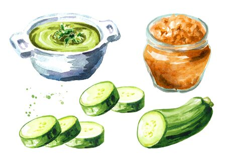 Squash, caviar or paste, soup and zucchini vegetables set