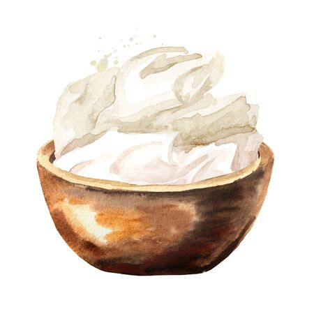 Mascarpone cream cheese in wooden bowl. Watercolor hand drawn illustration isolated on white background