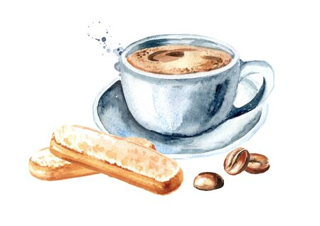 Savoiardi biscuits or ladyfingers cookies and cup of coffee. Watercolor hand drawn illustration, isolated on white background