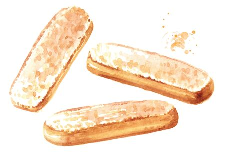 Savoiardi biscuits or ladyfingers cookies set. Watercolor hand drawn illustration isolated on white background Stock fotó