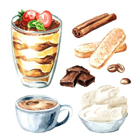 Tiramisu in the glass, Italian traditional sweet dessert with ingredients set. Watercolor hand drawn illustration isolated on white background Stock fotó