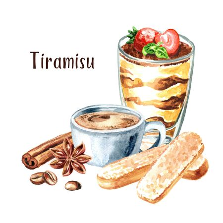 Tiramisu in the glass, Italian traditional sweet dessert with ingredients. Watercolor hand drawn illustration, isolated on white background