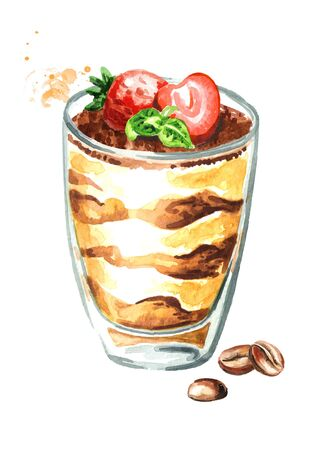 Tiramisu in the glass, Italian traditional sweet dessert. Watercolor hand drawn illustration, isolated on white background Stock fotó