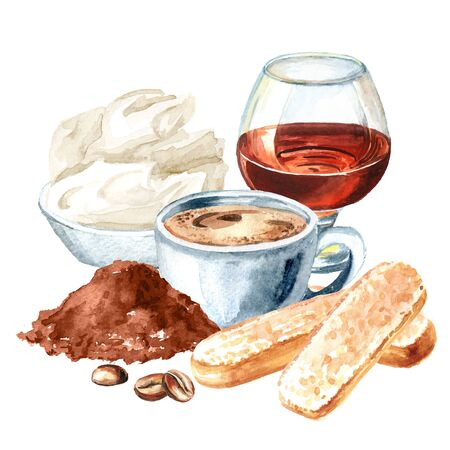 Tiramisu, Italian traditional sweet dessert ingredients. Watercolor hand drawn illustration, isolated on white background