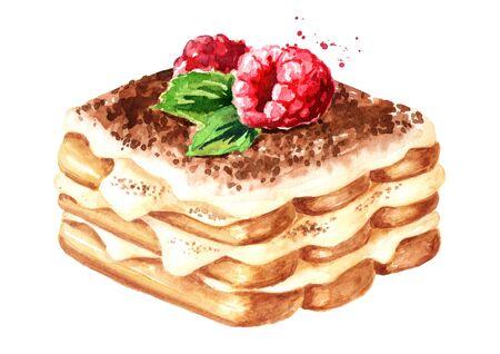 Tiramisu, Italian traditional sweet dessert with fresh raspberry. Watercolor hand drawn illustration isolated on white background