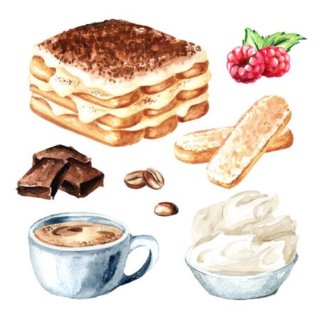 Tiramisu, Italian traditional sweet dessert with ingredients set. Watercolor hand drawn illustration isolated on white background