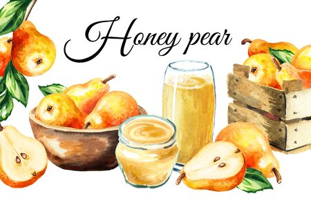 Fresh ripe honey pear card. Hand drawn watercolor illustration, isolated on white background