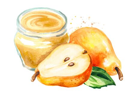 Glass of homemade sweet honey pear jam or marmalade. Hand drawn watercolor illustration isolated on white background