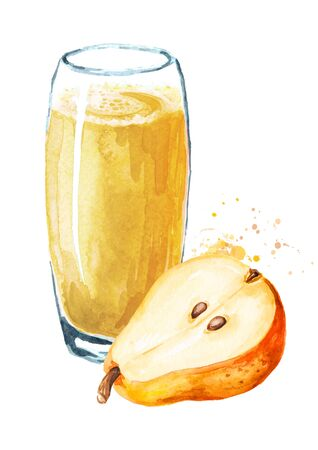 Glass of sweet honey pear juice. Hand drawn watercolor illustration isolated on white background