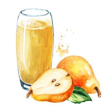 Glas süßer Honigbirnensaft. Handgezeichnete Aquarellillustration, isoliert auf weißem Hintergrund