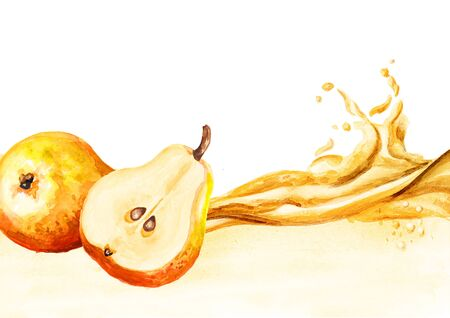 Honey pear juice wave. Hand drawn watercolor illustration isolated on white background Stock fotó