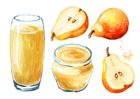 Sweet honey pear jam or marmalade and juice set. Hand drawn watercolor illustration isolated on white background