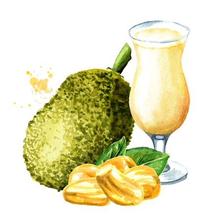 Glass of Jackfruit juice. Hand drawn watercolor illustration, isolated on white background