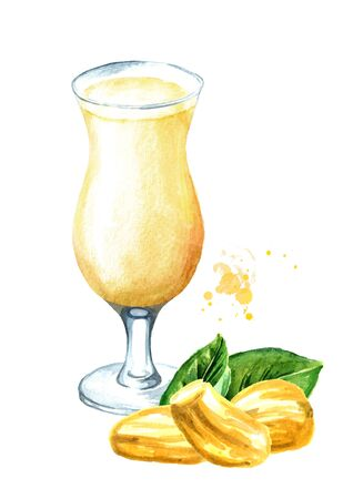 Glass of Jackfruit juice. Hand drawn watercolor illustration isolated on white background