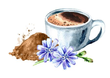 A cup of Hot Chicory drink with flowers and powder. Watercolor hand drawn illustration, isolated on white background Stock fotó