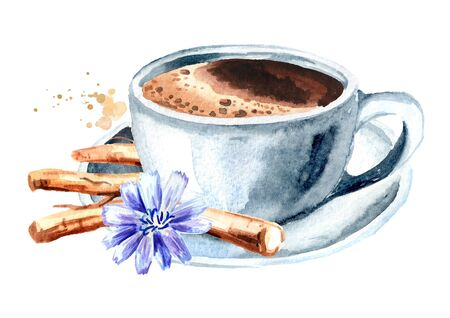 Hot Chicory drink in a cup with a flower and dried chicory roots. Watercolor hand drawn illustration, isolated on white background
