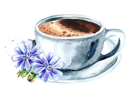 Hot Chicory drink in a cup with flowers. Watercolor hand drawn illustration, isolated on white background