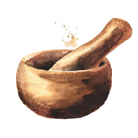 Wooden mortar and pestle. Watercolor hand drawn illustration isolated on white background