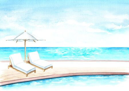 Beach Umbrella and sun loungers by the pool near the sea, summer vacation concept and background, Hand drawn watercolor illustration