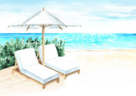 Beach Umbrella and sun loungers on the beach near  the sea, summer vacation concept and background, Hand drawn watercolor illustration
