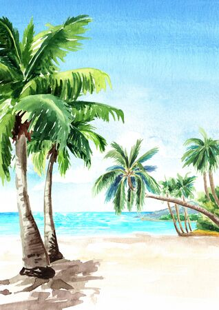 Seascape.Tropical beach with  sea, sky, white sand and palm trees, summer vacation concept and vertical background. Hand drawn watercolor illustration