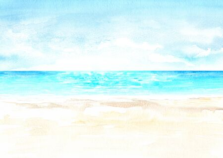 Seascape.Tropical beach with sea, blue sky and white sand, summer vacation concept and background. Hand drawn watercolor illustration