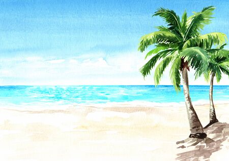 Seascape.Tropical beach with sea, white sand and palm trees, summer vacation concept and background. Hand drawn watercolor illustration