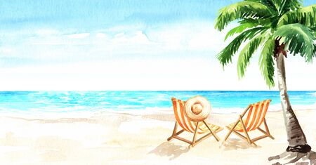 Seascape.Tropical beach with sea, white sand and sun loungers, summer vacation concept and background. Hand drawn horizontal watercolor illustration