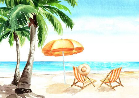 Seascape.Tropical beach with sea, white sand, palms, sun loungers and a beach umbrella, summer vacation concept and background, Hand drawn watercolor illustration