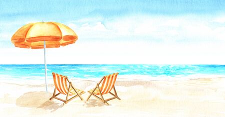 Seascape.Tropical beach with sea, white sand, sun loungers and a beach umbrella, summer vacation concept and background. Hand drawn horizontal watercolor illustration