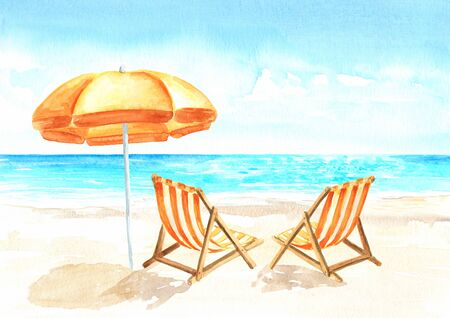 Seascape.Tropical beach with sea, white sand, sun loungers and a beach umbrella, summer vacation concept and background. Hand drawn watercolor illustration
