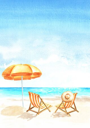 Seascape.Tropical beach with sea, white sand, sun loungers and a beach umbrella, summer vacation concept and vertical background. Hand drawn watercolor illustration