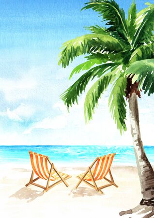 Seascape.Tropical beach with sea, white sand, sun loungers and palms, summer vacation concept and vertical background. Hand drawn watercolor illustration Stock fotó