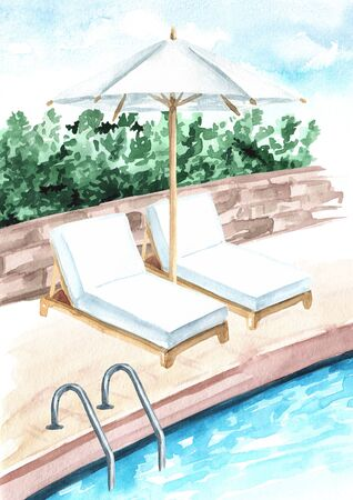 Umbrella and sun loungers by the pool, summer vacation concept. Hand drawn watercolor illustration