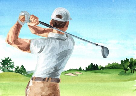 Man Playing Golf on Beautiful golf course with beautiful green field with a rich turf, Hand drawn watercolor illustration and background Stock Photo