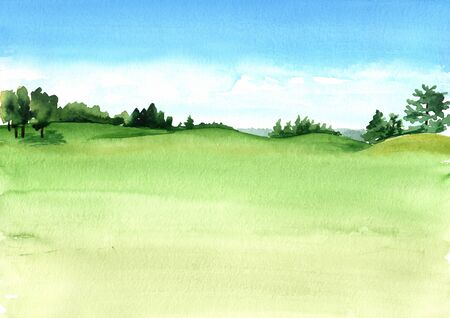 View of beautiful green field with a rich turf. Hand drawn watercolor illustration and background