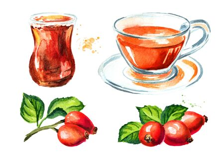 Glass and cup of of wild rose or Rosehip tea with ripe red briar fruits set. Hand drawn watercolor illustration, isolated on white background
