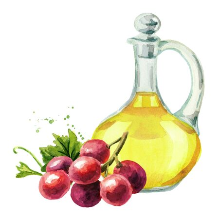 Glass bottle of Red Grape oil. Hand drawn watercolor horizontal illustration isolated on white background