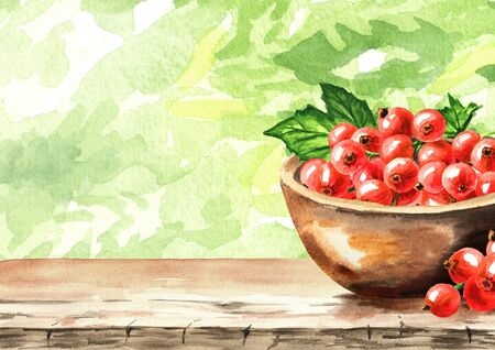 Red currant berries in the summer green garden on the table, Hand drawn watercolor illustration background with copy space Stock fotó