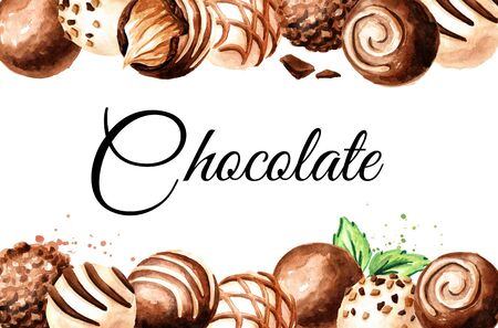 Chocolate candy, truffle with soft caramel praline card. Stockfoto