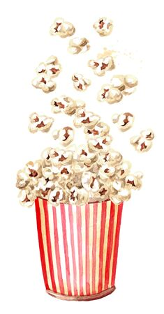 Popcorn Falling into the red and white striped cardboard bucket. Hand drawn watercolor illustration isolated on white background Foto de archivo